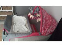 Hi i got a pink and grey little one cot for sale next month it will be 1year old never been sleeped in only used to change baby diaper i paid R1500 for it at Game make me an offer, also have a pink and white walking ring its 2months old plays music cot play music as well i want R350 for walking ring whatsappvme on 0728051450 9r call 0736581463