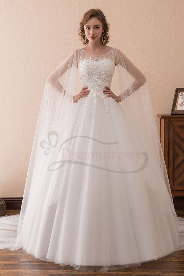 Vintage Wedding Dress with Cape Cloak Tulle Appliques Bridal Gown ...