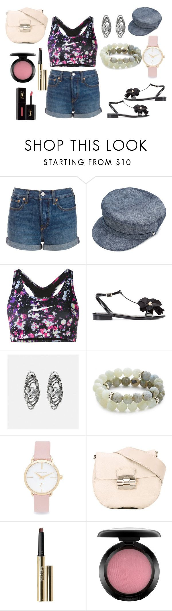 """""""sporty Look"""" by hillarymaguire ❤ liked on Polyvore featuring Levi's, Manokhi, NIKE, Lanvin, Avenue, Lacey Ryan, Michael Kors, Furla, Trish McEvoy and MAC Cosmetics"""