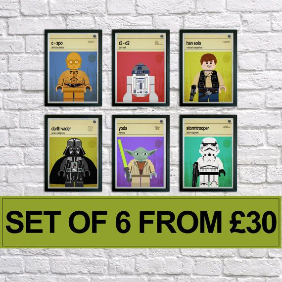 This is a stylish set of 6 poster prints of the Lego Star Wars characters, fit to grace any man cave or childrens bedroom. Hand drawn with a