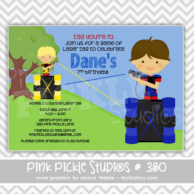 Laser Tag 3 Personalized Party Invitation-personalized invitation, photo card, photo invitation, digital, party invitation, birthday, shower, announcement, printable, print, diy,gun, lazer,