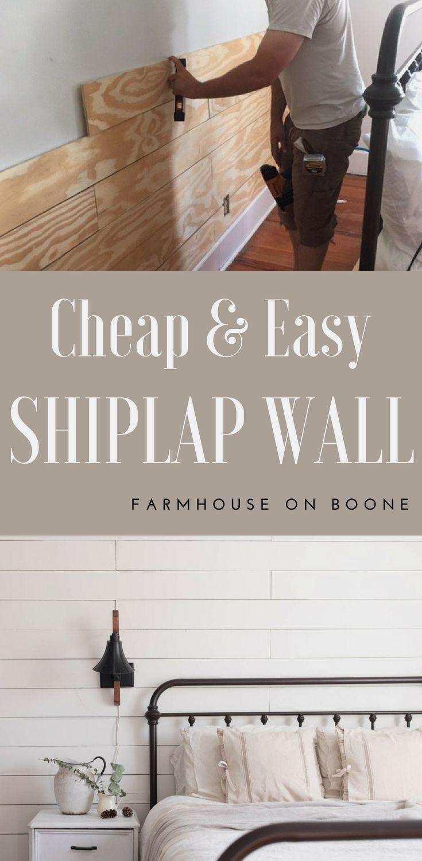 Cheap And Easy Diy Shiplap Wall Shiplap Wall Diy Ship Lap Walls Diy Shiplap