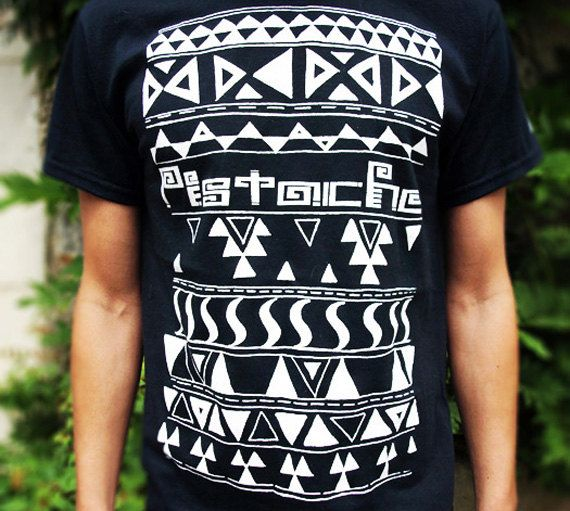 AZTEC T SHIRT mens boys screen printed clothing by PistacheArtists