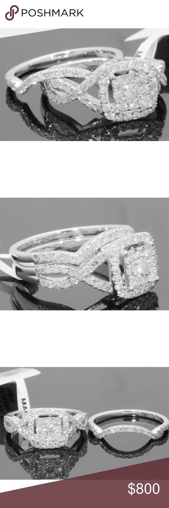 1.20 carat 10k white gold diamond ring set 1.20 carat 10k white gold diamond ring set! Great quality! Lots of sparkle! Retail around $2200! Lower on pal! Jewelry Rings