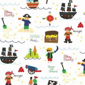Tissu Treasure map Pirate white x 10cm