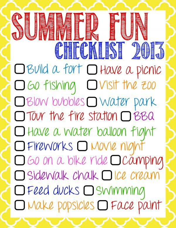 Summer Fun Checklist Printable