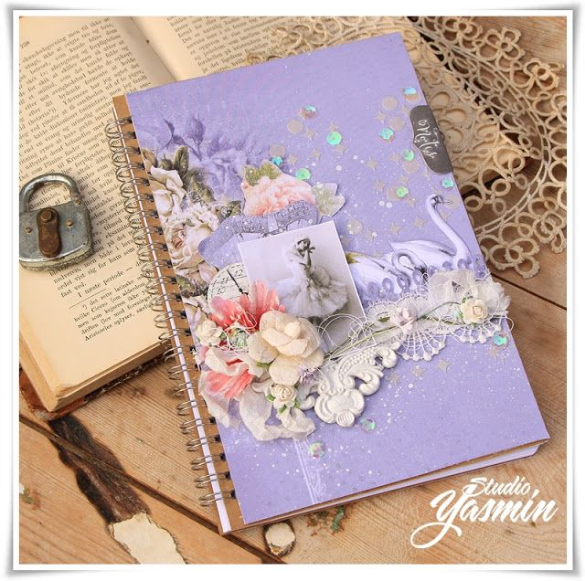 Studio Yasmin - Ballerina Notebook - DT Scrapberry's. An Altered notebook using Scrapberry's Juliet Collection.