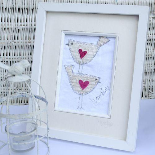 Lovebirds Embroidered Textile Framed Wall Art Picture   Fabric Red Velvet Heart Design   Wedding & E