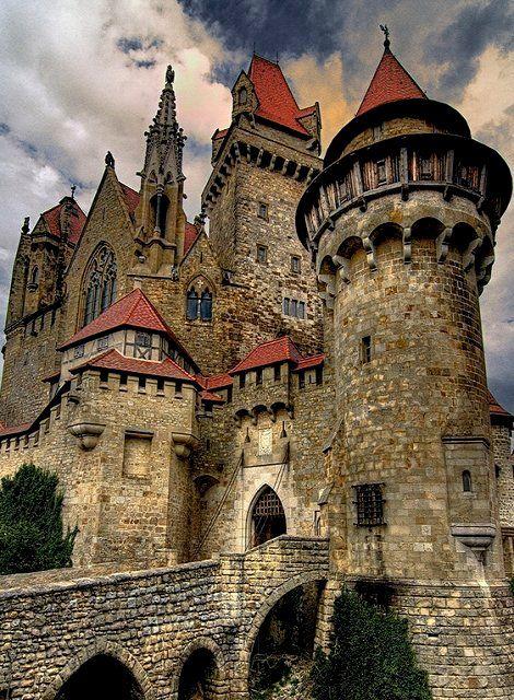 Burg Liechtenstein, Austria. The Ottoman Empire destroyed this amazing castle during their invasion of Austria in the 1500s. It was rebuilt in 1884.
