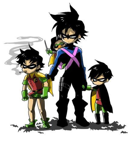 Robins (Dick, Jason, Tim, and Damian)