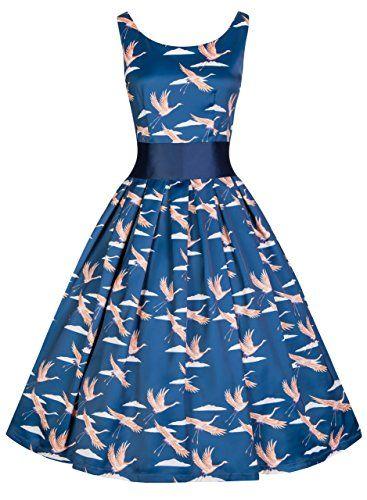 Lindy Bop 'Lana' Vintage 50's Inspired Rockabilly Bird Print Party Dress (3XL, Blue)