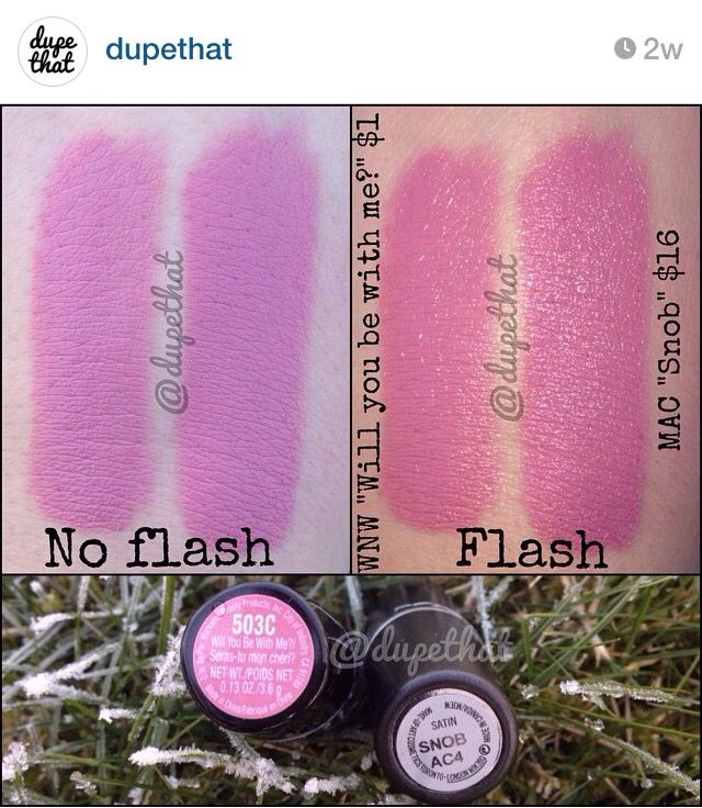 "Dupe for Mac Snob = WnW Will You Be With Me, from ""dupethat"" on Instagram."