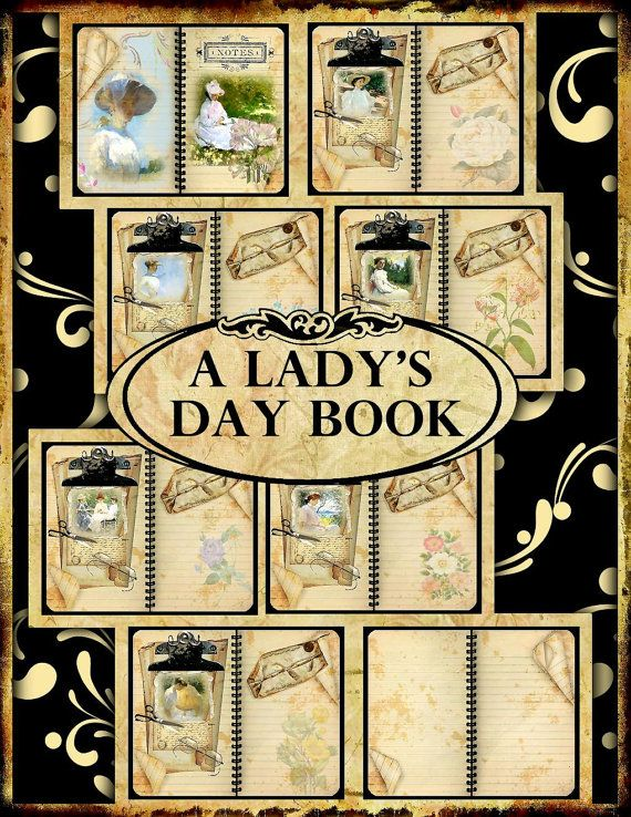 A Lady's Daybook Digital Printable Vintage Journal with 8 Double Pages, 41 Embellishments, 5 Backgrounds INSTANT DOWNLOAD