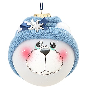 Blue Polar Bear SockHead™ Glass Ornament - 1158944 - $21.99