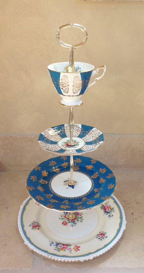 4 tier cake stand Teal Blauw en Goud voor cupcakes, snoep, sieraden, hors d'oeuvres. Huwelijk, bruids en Douche van de Baby, de Lijst, Gift ...