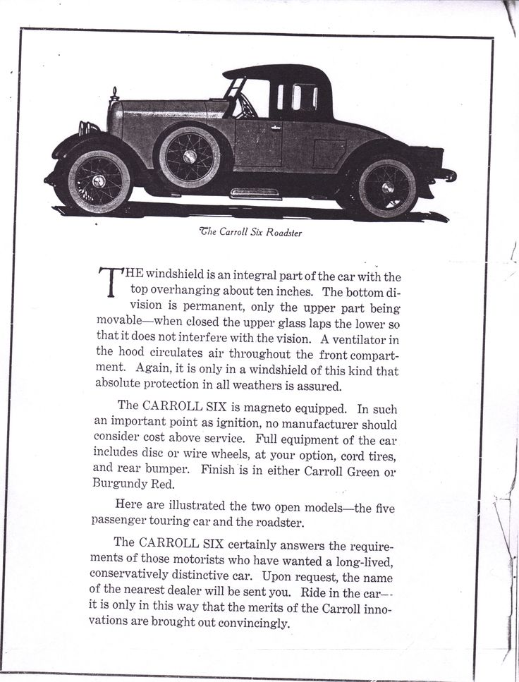 7 best The Carroll Six images on Pinterest | Old school cars ...