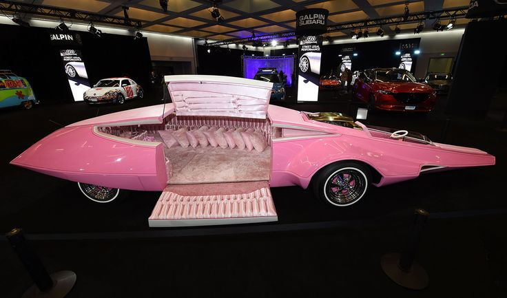 """Fully restorted and functioning """"Pink Panther Car"""" displayed at the Los Angeles Auto Show [OS][1200x800] - see http://www.classybro.com/ for more!"""