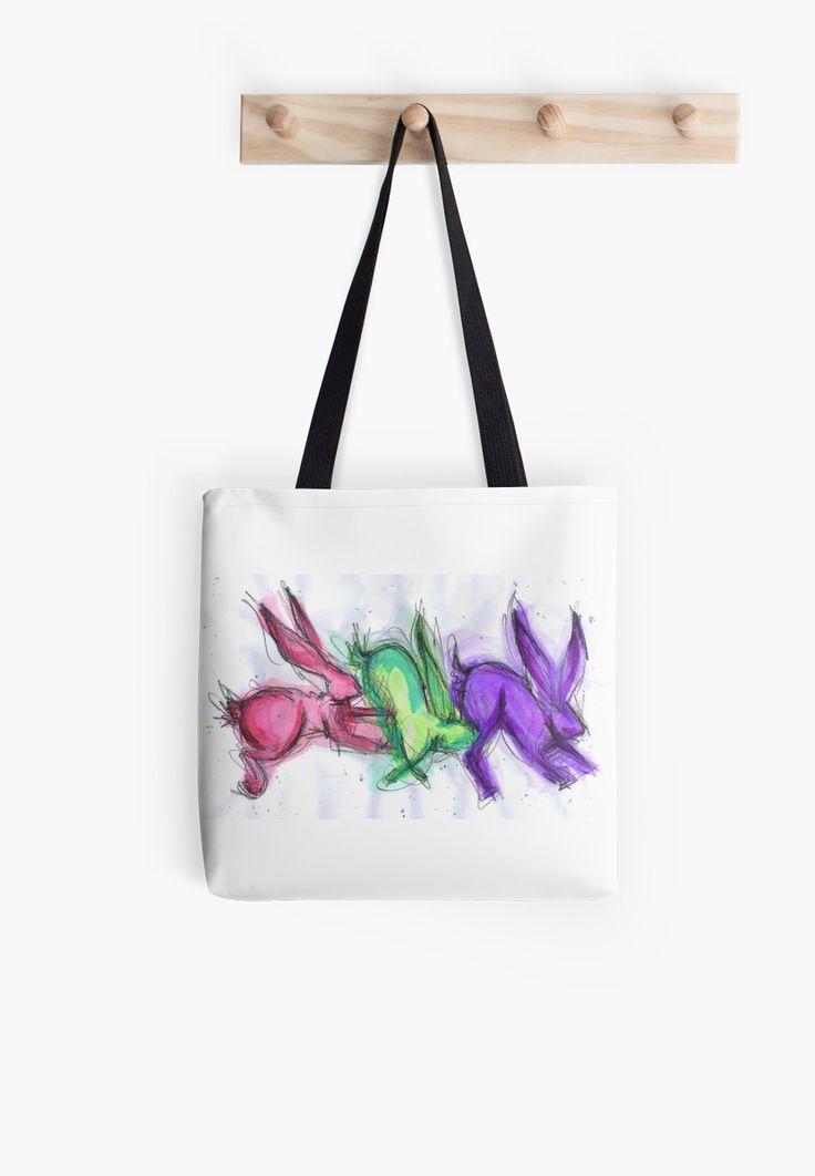 colourful jumping hares rabbits by salixpyrography