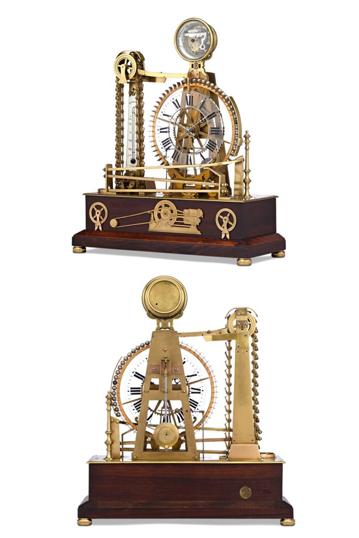 This rare French automaton clock displays a balanced design and extraordinary ingenuity. The timepiece takes the form of a waterwheel, which powers its three-train movement. Crafted of bronze, the piece also boasts a thermometer and barometer. The design celebrates the advances made in French engineering during the 19th century ~ French Clock, Antique Clock, Antique Timepieces, Industrial clock ~ M.S. Rau Antiques