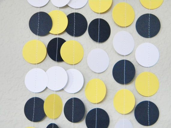 Wedding Nautical Theme Yellow Navy Blue White Party Decoration Paper Garland Birthday Party, Nursery, Baby or Bridal Shower 10 feet