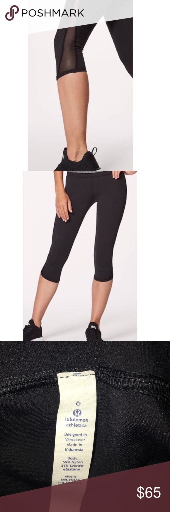 Lululemon crop mesh leggings Black cute lululemon leggings brand new! Price is cut off of tag because I received these as a gift. Nothing wrong with them they just did not fit. Also have these for sale size 2! lululemon athletica Pants Leggings
