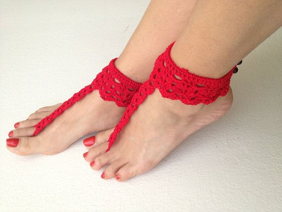 Red   Aztec Barefoot Sandals Nude by ArtofAccessory on Etsy, $17.00