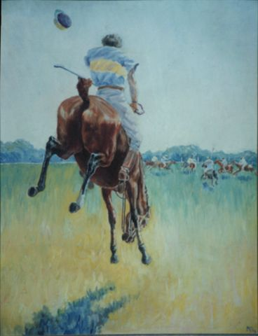 untitled (polo scene)  1900 / 1902  Oil on hardboard, 27 x 21 in. (68.5 x 53.3 cm)  Private collection - Before coming to Wilmington to study with Howard Pyle, Wyeth painted pictures derived from studies at the Karlstein Polo Grounds in Dedham, Massachusetts. This could relate to a commission of early 1903.