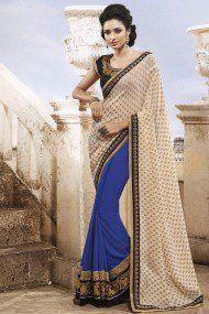 Nakkashi Georgette Designer Saree In Cream and Blue Colour