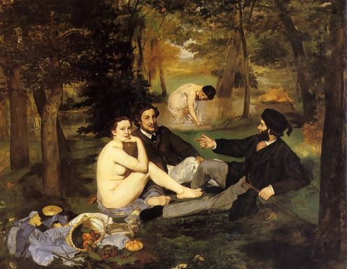 The Luncheon on the Grass - Édouard Manet, 1887.  During the 1860s, the Salon jury routinely rejected half of the works submitted by Monet and friends in favour of works by artists faithful to the approved style. The1863  jury rejected Manet's (Le déjeuner..) because it depicted a nude with two clothed men at a picnic. While  the Salon jury accepted nudes in historical and allegorical paintings it condemned Manet for a realistic nude in a contemporary setting.