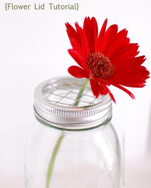 How to Make Mason Jar Flower Frog Lids: Diy Mason, Arrangements Ideas, Frogs Lids, Flowers Arrangements, Flowers Lids, Jars Flowers, Flowers Frogs, Mason Jars, Jars Lids