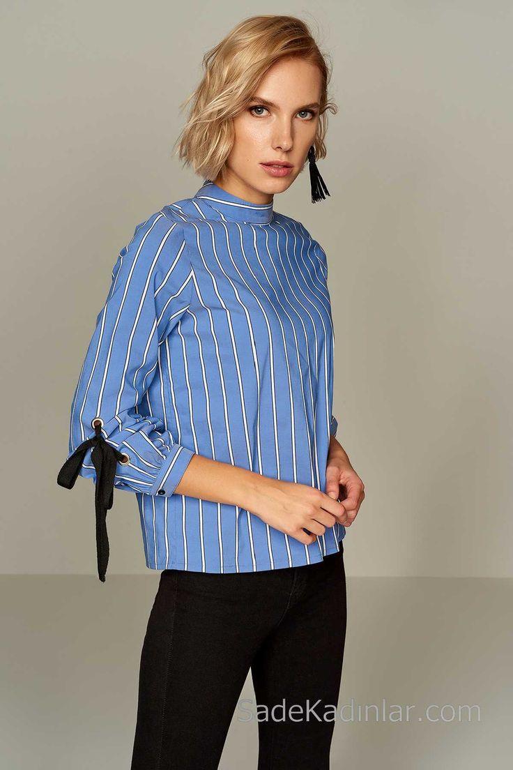 2018 Bluz Modelleri Mavi Çizgili Kolları Kuş Gözü Detaylı
