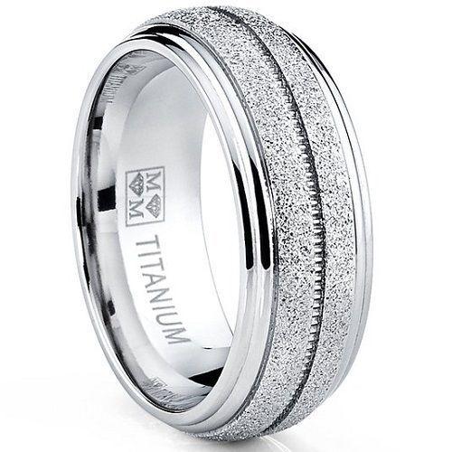 Men-039-s-Titanium-Dome-Glittered-Satin-Wedding-Band