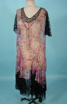 1920's Sheer Floral Chiffon Dress with Black Lace Trim. How amazing is this?