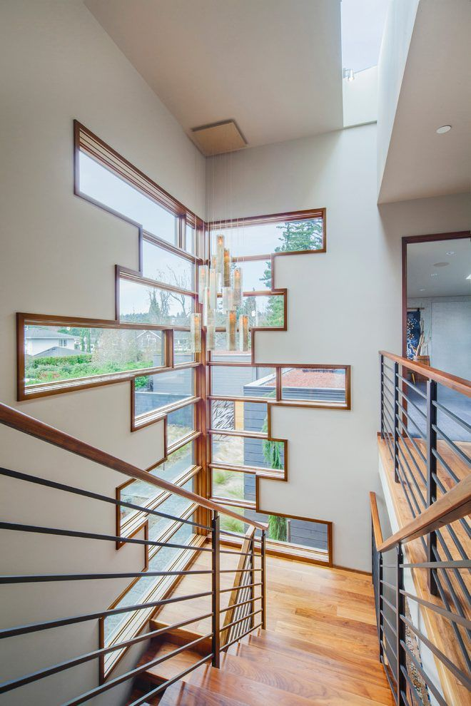 stained window trim staircase contemporary with high ceilings canopy included