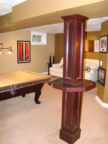 The Finished Basement: Image Gallery - hiding the pole and make space at the same time by the pool table.