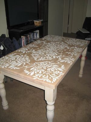 Stenciled Dining Room Table