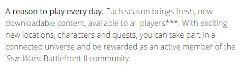 [Screenshot] Star Wars Battlefront 2 DLC will be free. This is taken from the game's Origin page #Playstation4 #PS4 #Sony #videogames #playstation #gamer #games #gaming