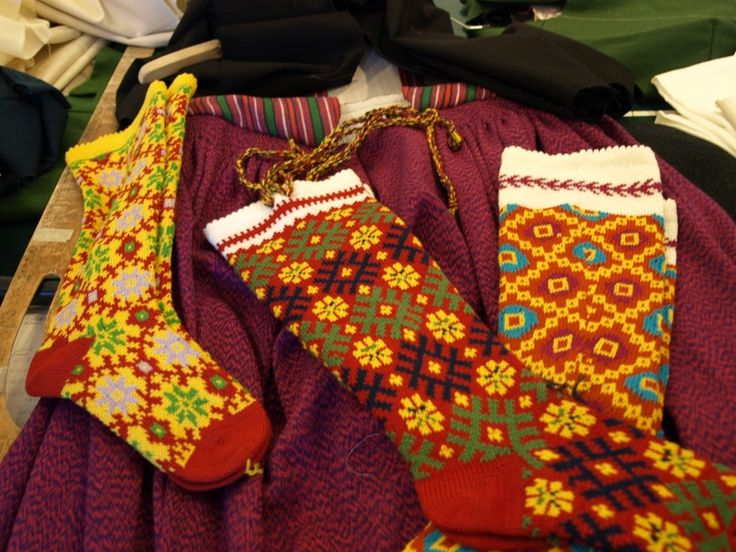 Knitted socks of Alsunga. Latvian folk costume.