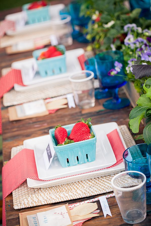 strawberry wedding ideas.  Cute idea for 4th of July wedding.  Coral could replace red.