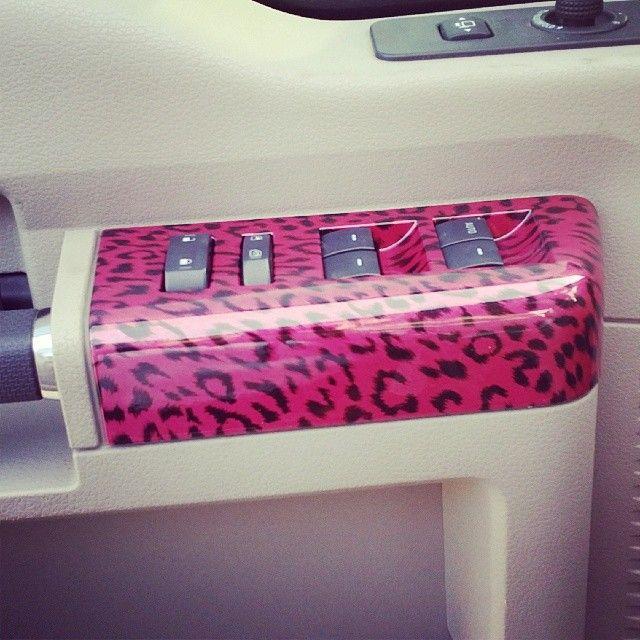 pink cheetah car interior