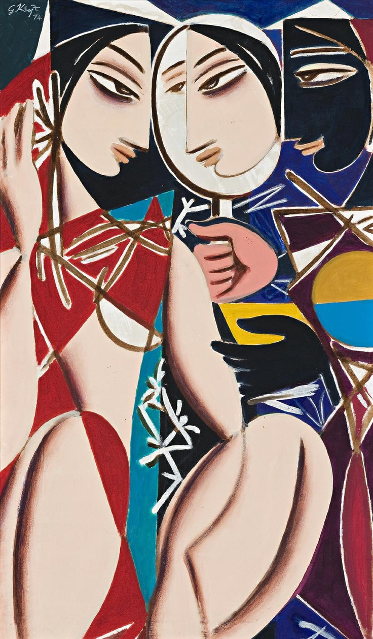 George Keyt ~ Figures With Mirror, 1974 (oil on canvas)