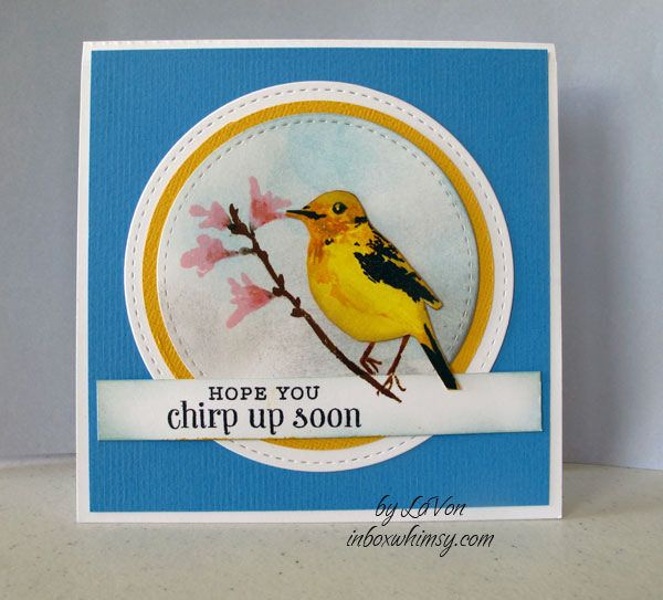 This is first time I put ink to this set.  I was inspired my the wonderful gold finches that are at my feeder. Think this is going to be a favorite set for me.  Hero Arts  CL866 Color Layering Bird & Branch