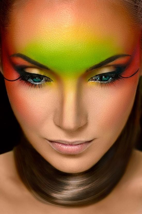 Artistic and colorful unique makeup