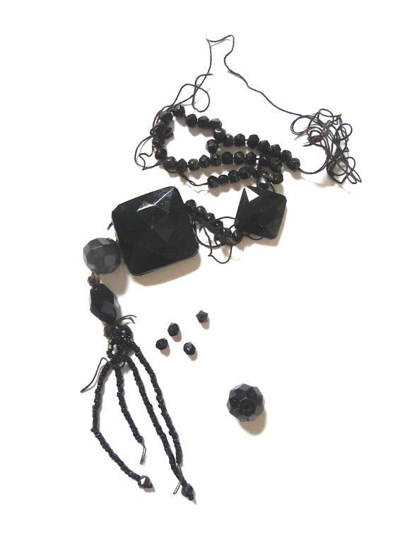 Antique Faceted Black Glass Beads Whitby Jet Beads