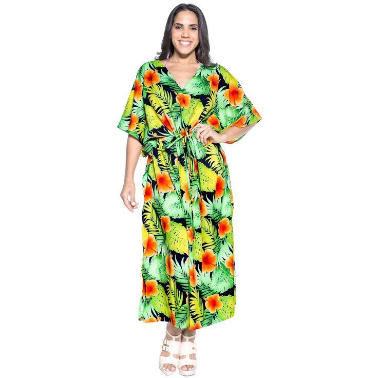 La Leela Soft Likre Kimono Hibiscus Casual Nightwear Long Kaftan Dress