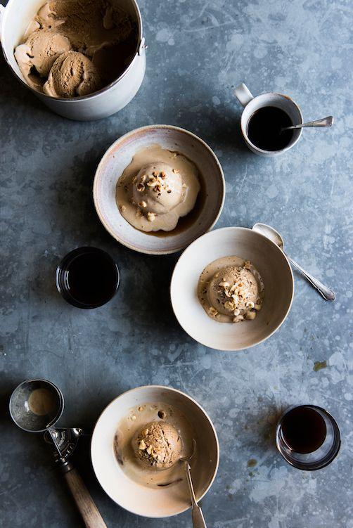 Coffee Ice Cream Float with Toasted Hazelnuts - Anna Barnett Cooks