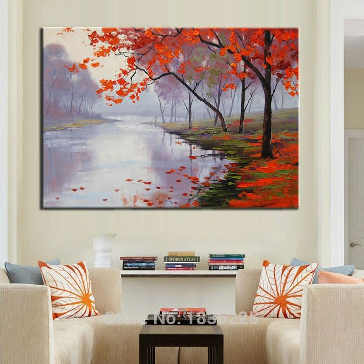 forest modern paintings with a knife tree leaves oil painting on canvas painted canvas decoration of houses interior wall decor-in Painting & Calligraphy from Home & Garden on Aliexpress.com | Alibaba Group