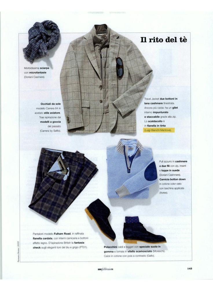 Dove Viaggi 02.14 Travel #jacket due bottoni in lana #cashmere finestrata, con #gilet interno impunturato e staccabile e scaldacollo in flanella in tinta. (Luigi Bianchi Mantova)
