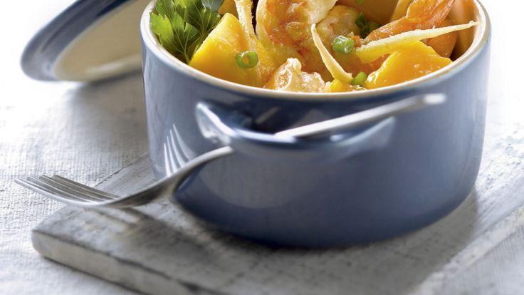 Stoofpotje van scampi's met mango en gember