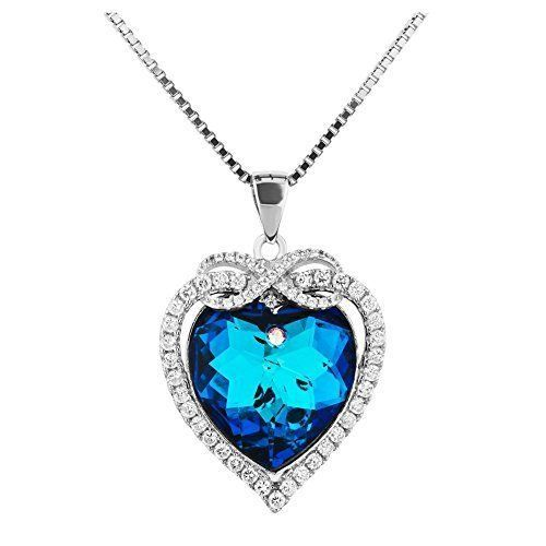 Mothers Day Gifts Gift For Mother Mom Sterling Silver Heart Ocean Blue NEW #Kbrand